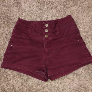 Maroon, three bottom shorts